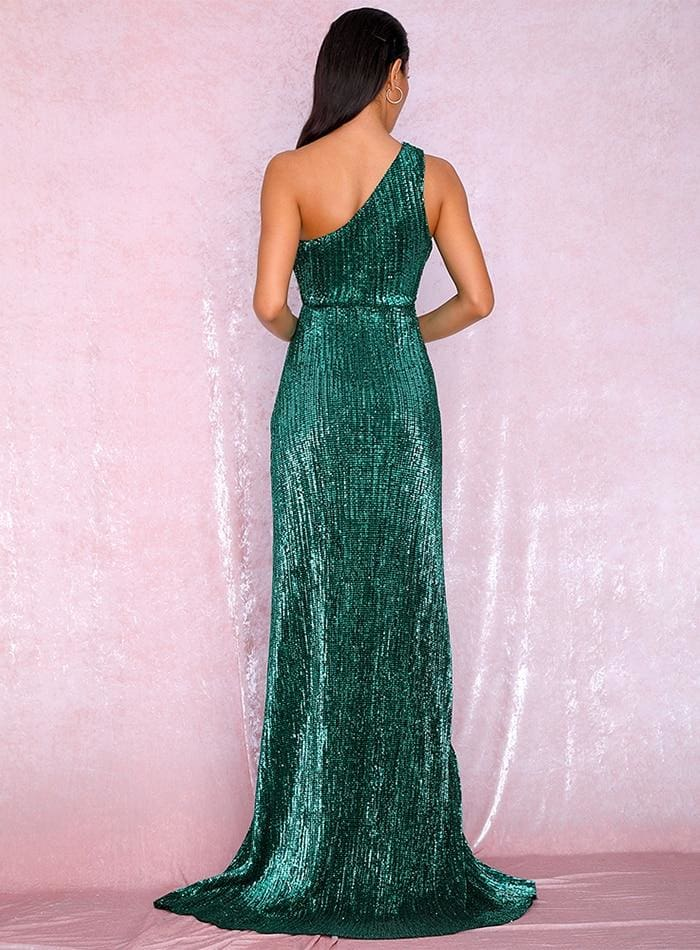One Shoulder Cut Out Green Cross Split Sequin Maxi Dress