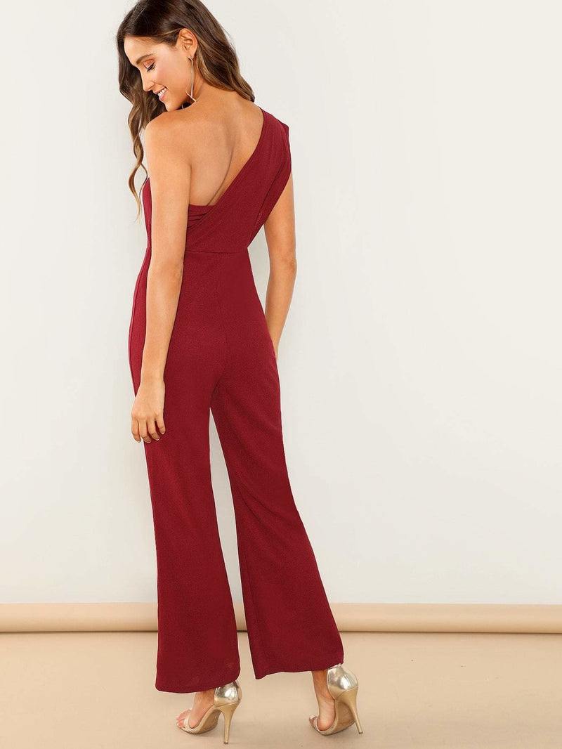 One Shoulder Flared Jumpsuit - Womens Jumpsuits