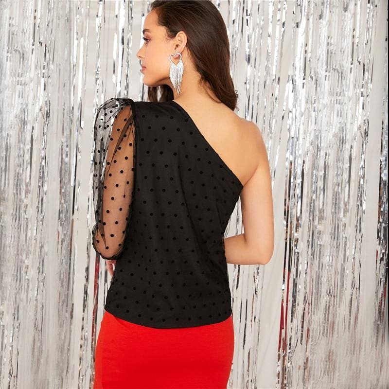 One Shoulder Gigot Sleeve Dobby Mesh Overlay Top