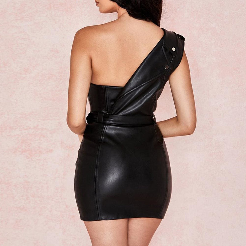 One Shoulder Pu Leather Bodycon Party Zipper Mini Dress - Dresses