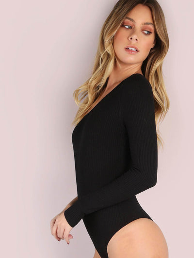 One Shoulder Rib Knit Bodysuit - Bodysuits