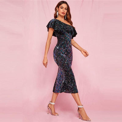 One Shoulder Ruffle Trim Sequin Prom Midi Dress - Dresses