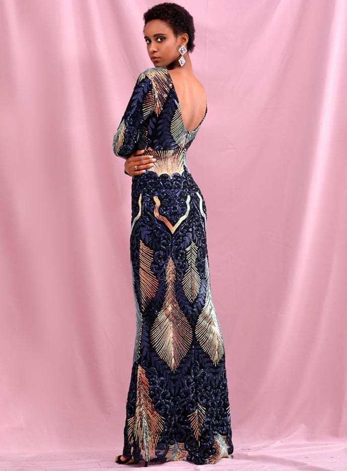 Open Back Geometric Element Sequins Prom Maxi Dress