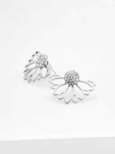 Open Lotus Flower Stud Earrings - Earrings