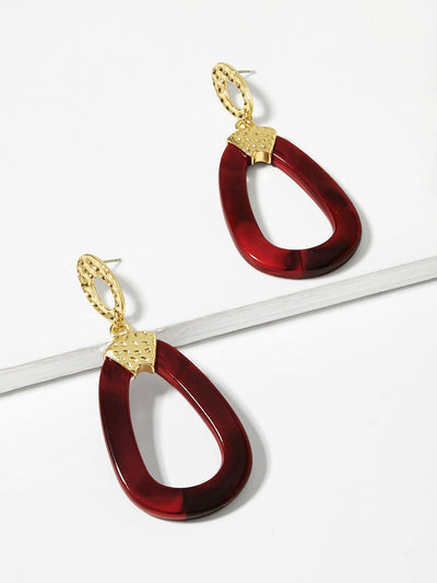 Open Pear Shaped Hoop Drop Earrings - Earrings