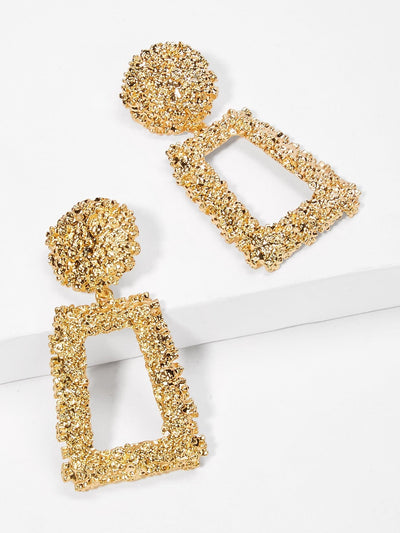 Open Rectangle Textured Drop Earrings - Earrings