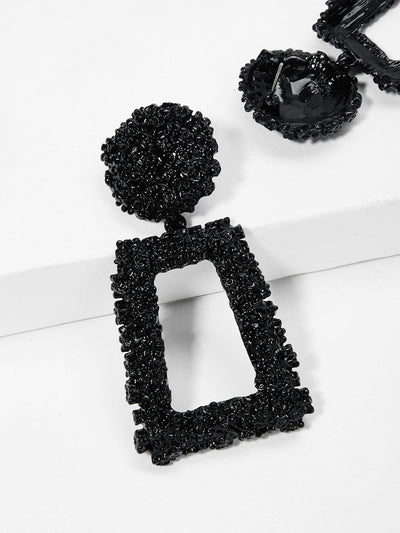 Open Rectangle Textured Festival Drop Earrings - Earrings
