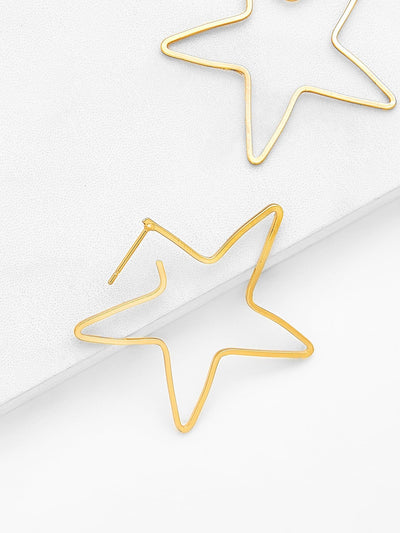 Open Star Design Drop Earrings - Earrings