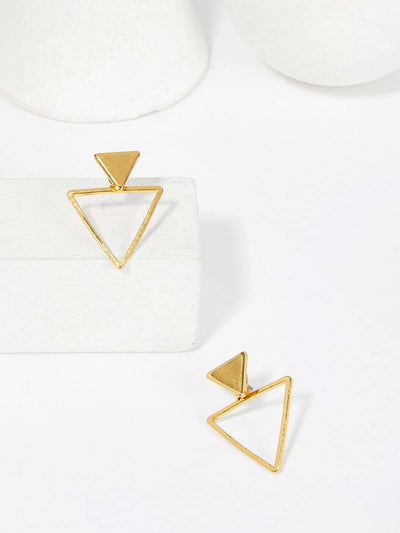 Open Triangle Shaped Stud Earrings - Earrings