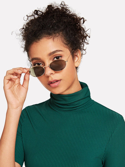 Oval Flat Lens Sunglasses - Sunglasses