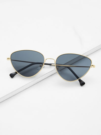 Oval Shaped Flat Lens Sunglasses - Sunglasses