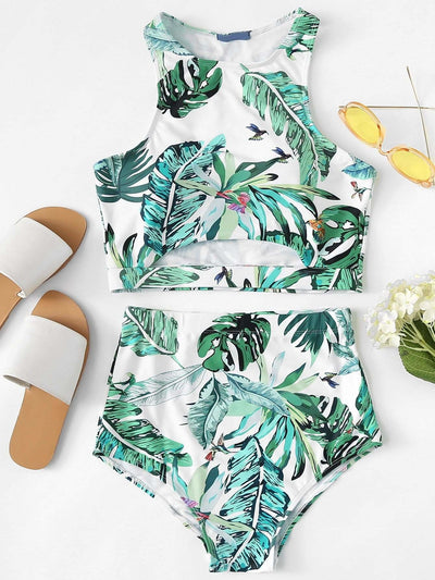 Palm Leaf Print Cut Out Tankini Set - High Waist Swimwear