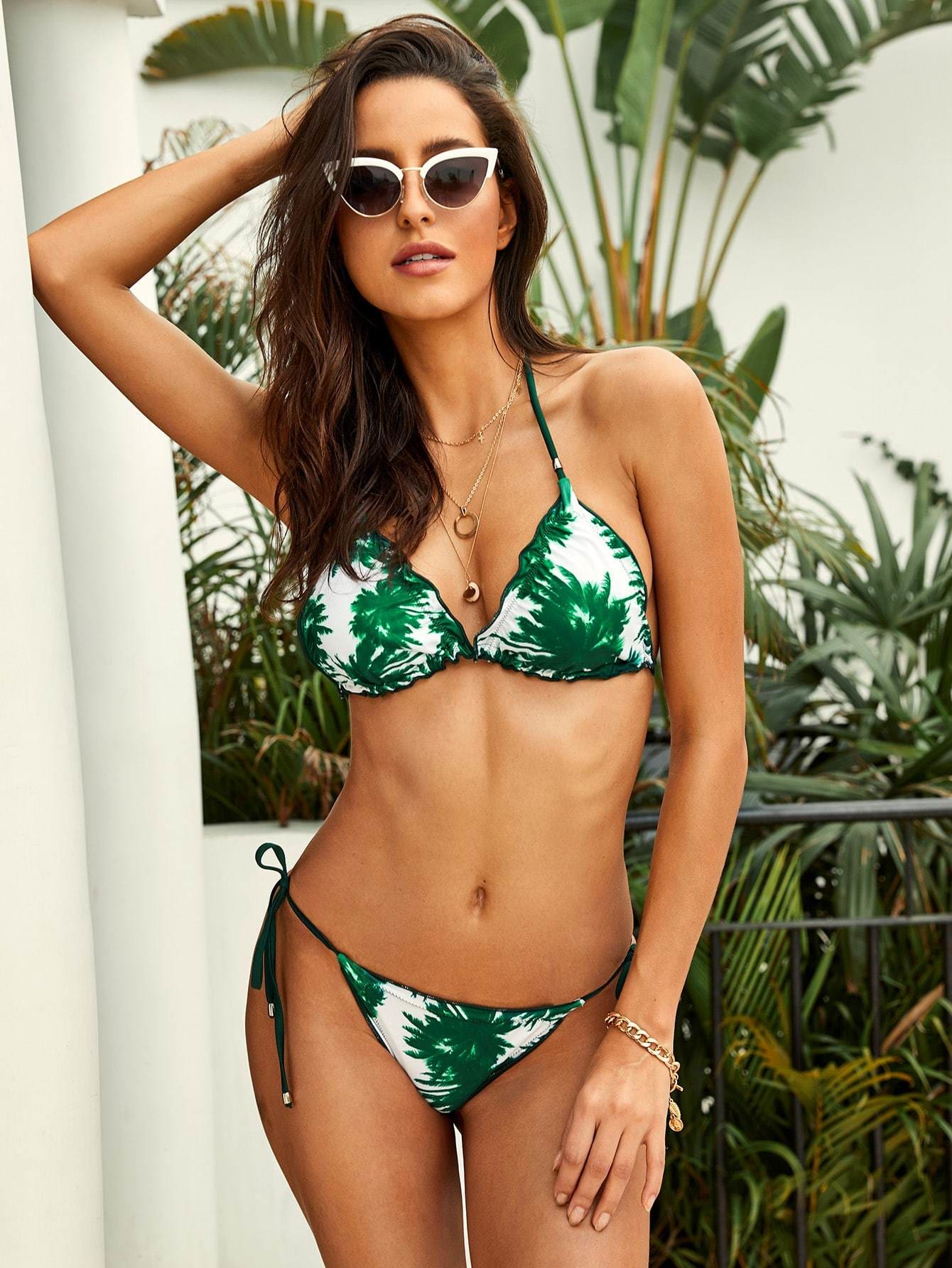 Palm Print Triangle Top With Tie Side Bikini - S - Bikini