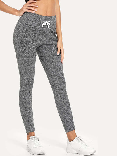 Panel Marled Drawstring Pants - Fittness Leggings
