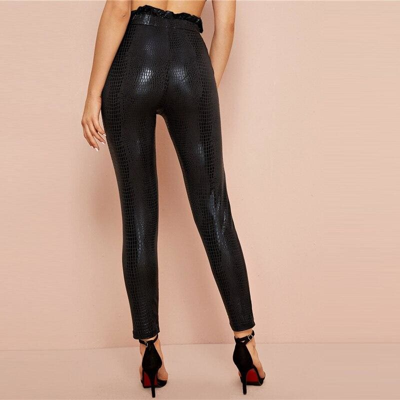 Paperbag Waist Crocodile Embossed High Waist Pants - Black / XS - Jeans & Pants