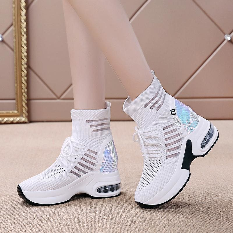 Patchwork Breathable Mesh Platform Sneakers - White / 6 - Womens Sneakers