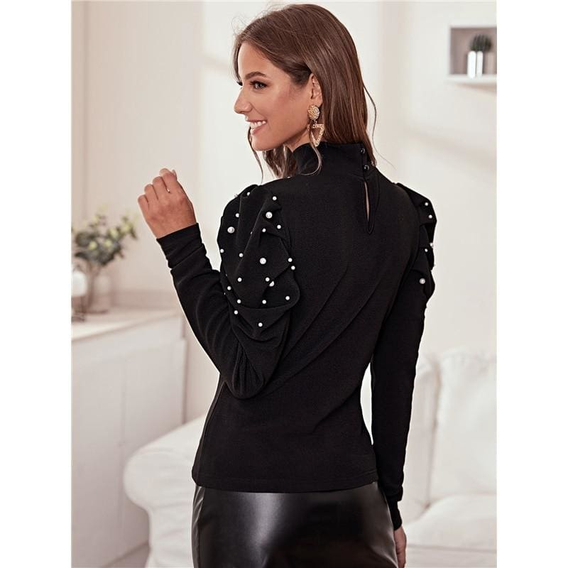 Pearls Beaded Keyhole Back Button Top - Black / M - Hoodies & Sweatshirts
