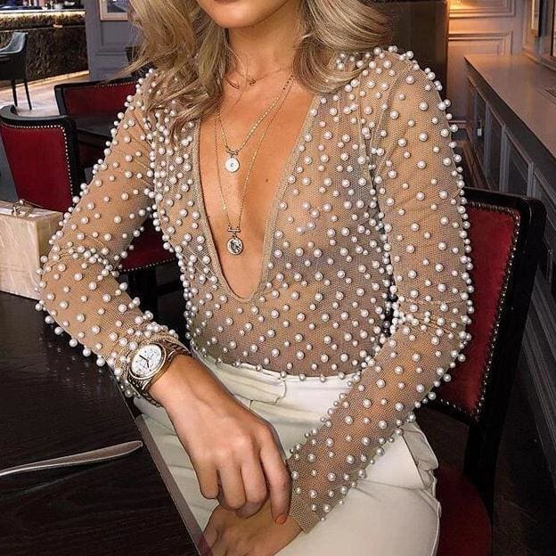 Pearls Detail Mesh V Neck Party Bodysuit