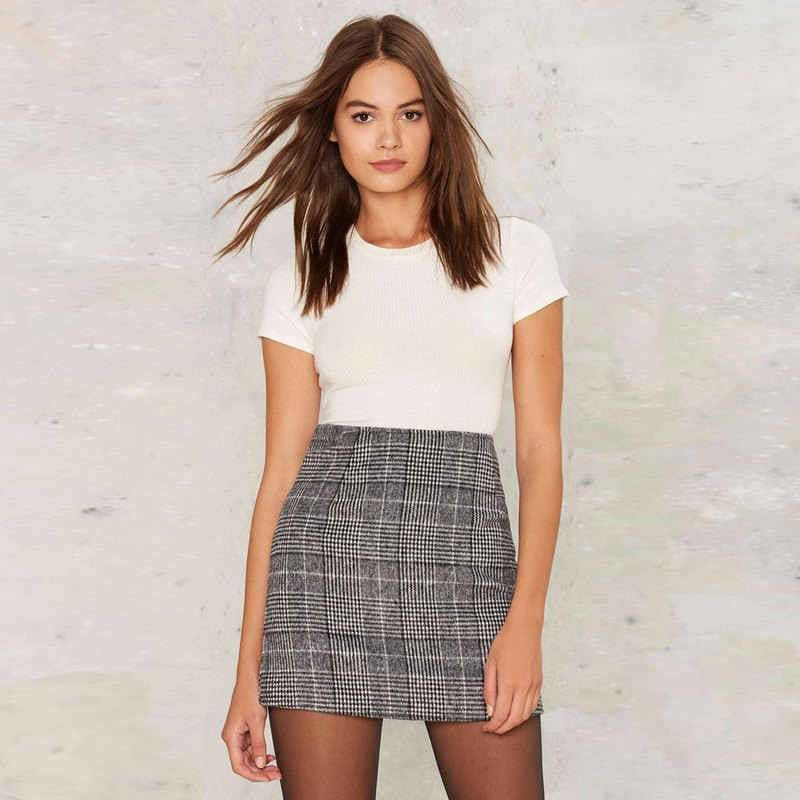 Pencil High Waist Plaid Skirt