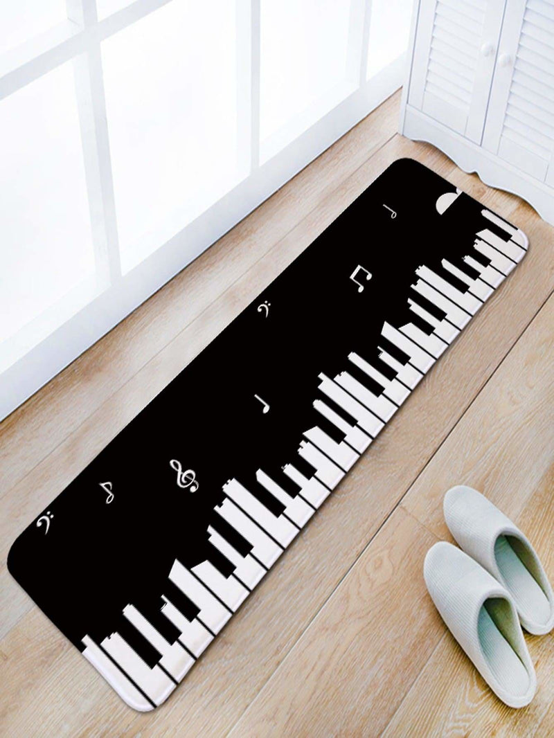 Piano Print Floor Mat - One-Size / Black And White - Rugs & Mats