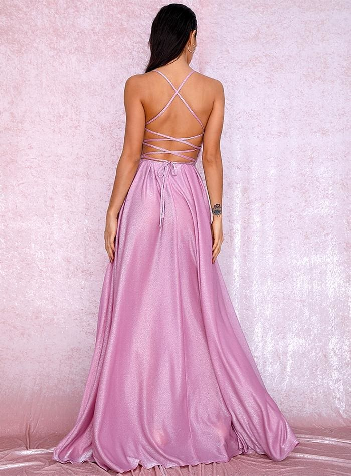 Pink Backless Deep V-Neck Puffs Prom Maxi Dress - PINK / S - Dresses