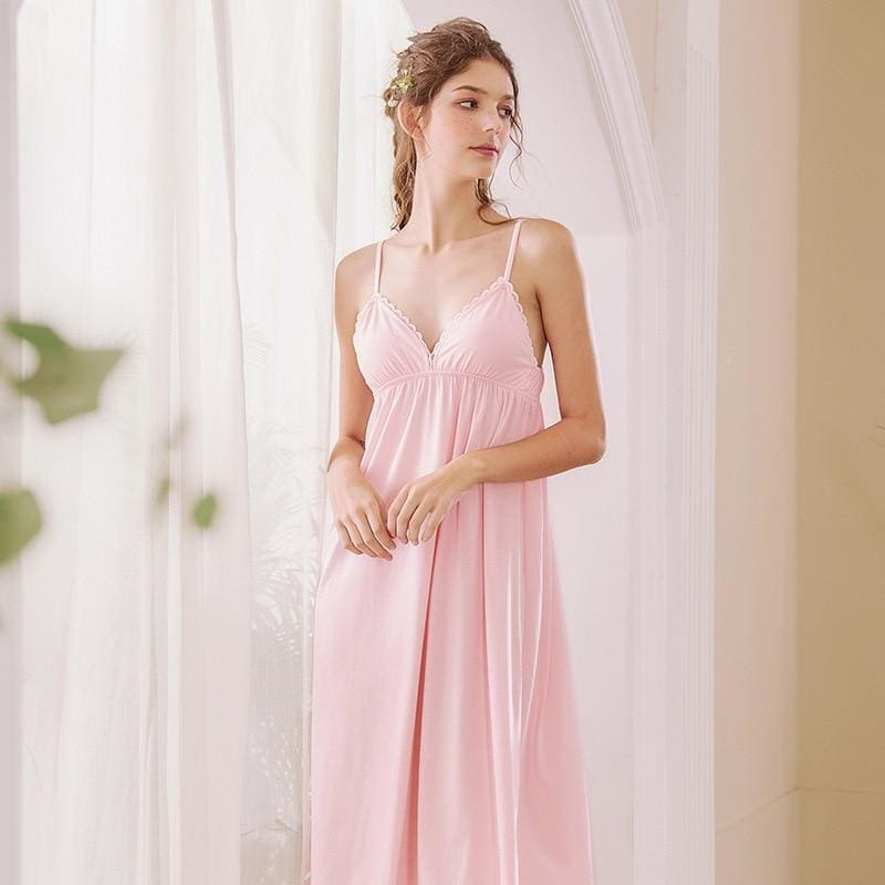 Pink Cotton Lace V Neck Nightdress - Pink / L - Nightwears