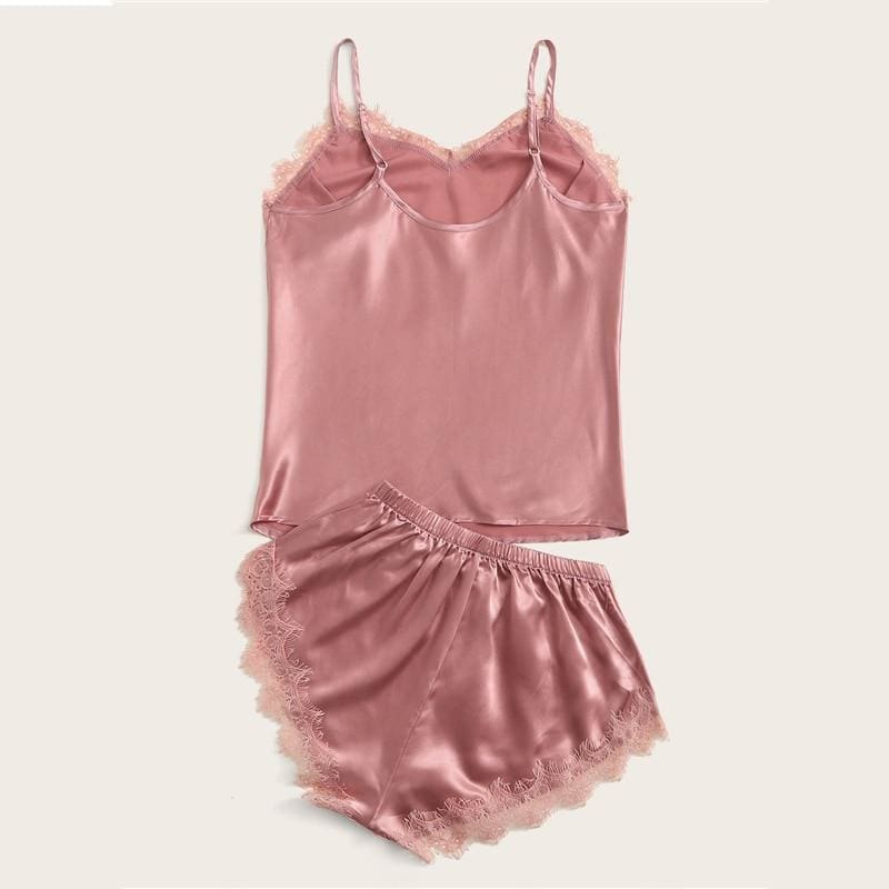 Pink Eyelash Lace Satin Cami PJ Set - Pink / L - Nightwears