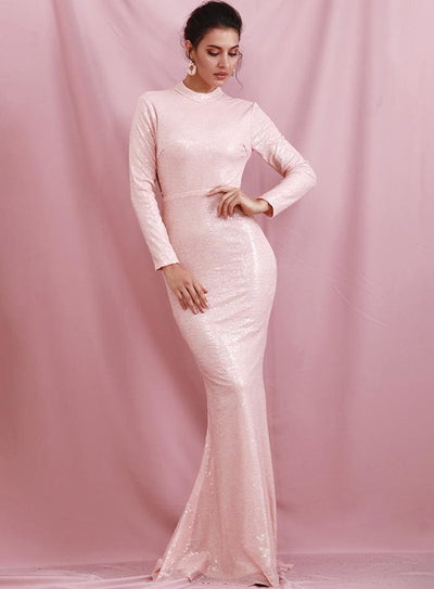 Pink High Neck Open Back Rhinestone Sequins Prom Maxi Dress - Dresses