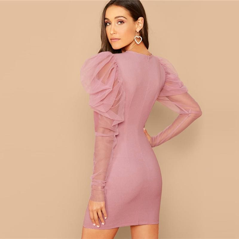 Pink Mesh Gigot Sleeve Bodycon Going Out Mini Dress - Pink / S - Dresses