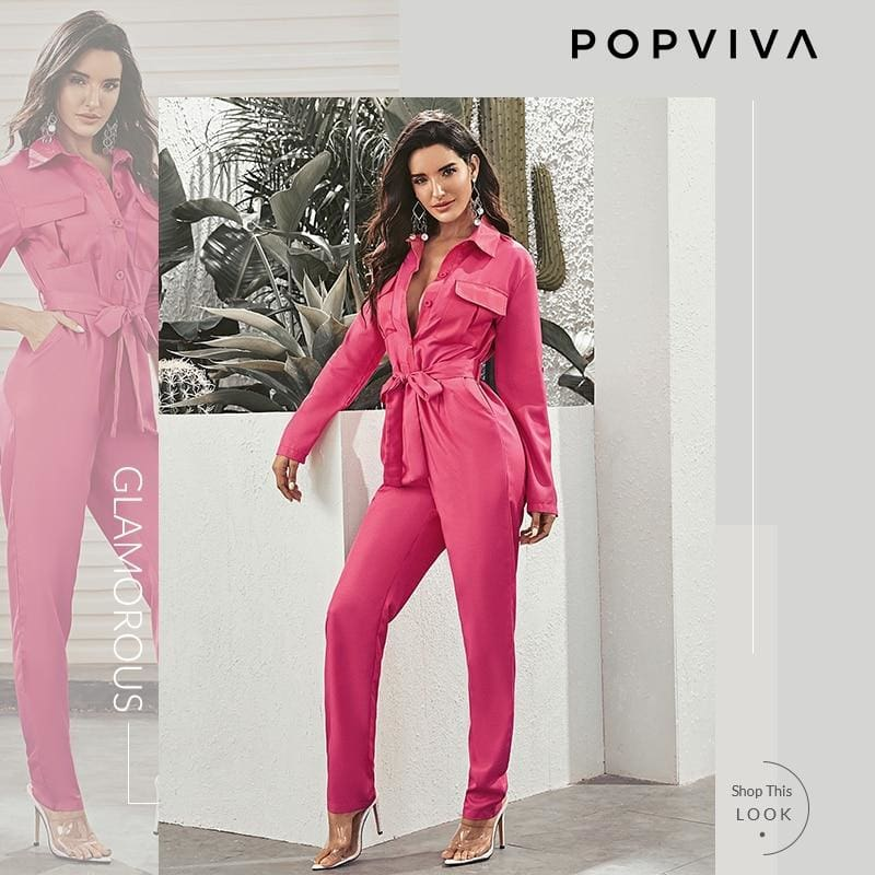 Pink Pocket Patch Button Roll Up Sleeve Jumpsuit
