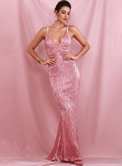 Pink Sequin V Collar Exposed Back Sequin Prom Maxi Dress - PINK / L - Dresses