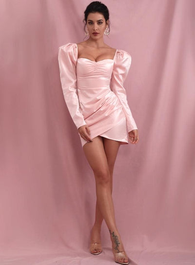 Pink Sexy Square Collar Bubble Reflective Party Mini Dress - Dresses