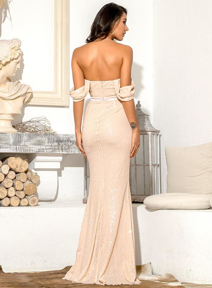 Pink Tube Top Drop Shoulder Sleeve Sequins Split Fishtail Prom Maxi Dress