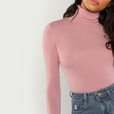 Pink Turtleneck Slim Fit Office T-Shirt - Blouses