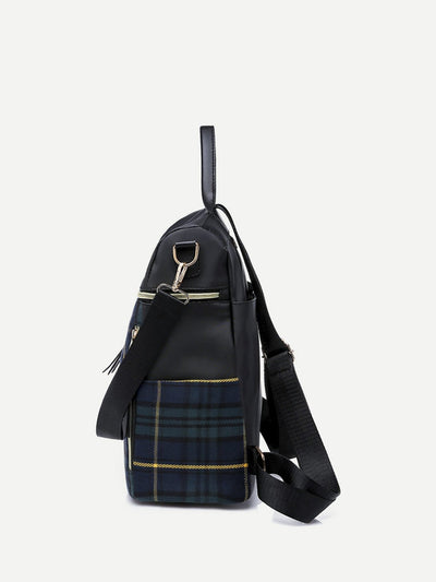Plaid Detail Zipper Backpack - Womens Bag