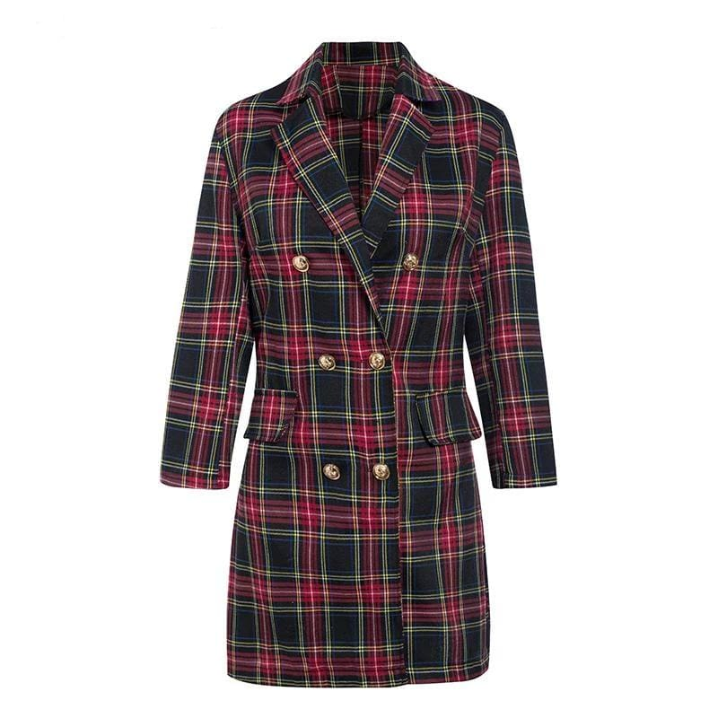 Plaid Elegant Double Breasted Long Sleeve Office Mini Dress - Red / M - Dresses