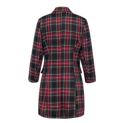 Plaid Elegant Double Breasted Long Sleeve Office Mini Dress - Dresses
