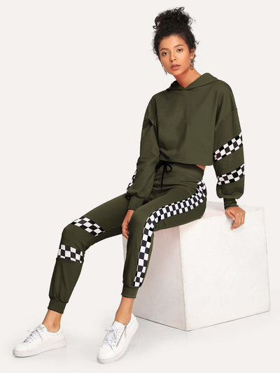 Plaid Panel Hooded Top With Drawstring Pants - Sportsuit