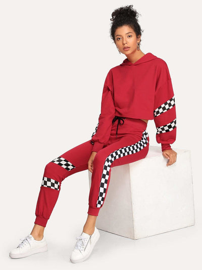 Plaid Panel Hoodie Top With Drawstring Pants - Sportsuit