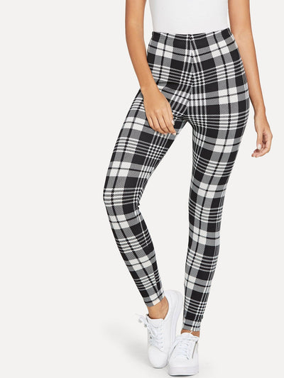Plaid Print Leggings - Leggings