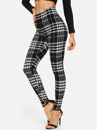 Plaid Skinny Leggings - Leggings