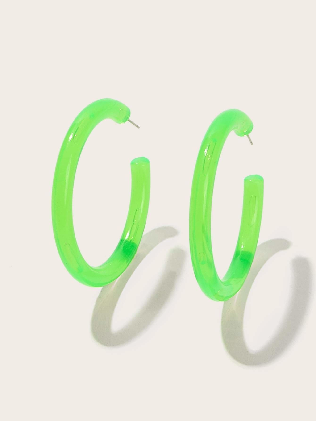 Plain Cut Festival Hoop Earrings 1pair - Green - Earrings