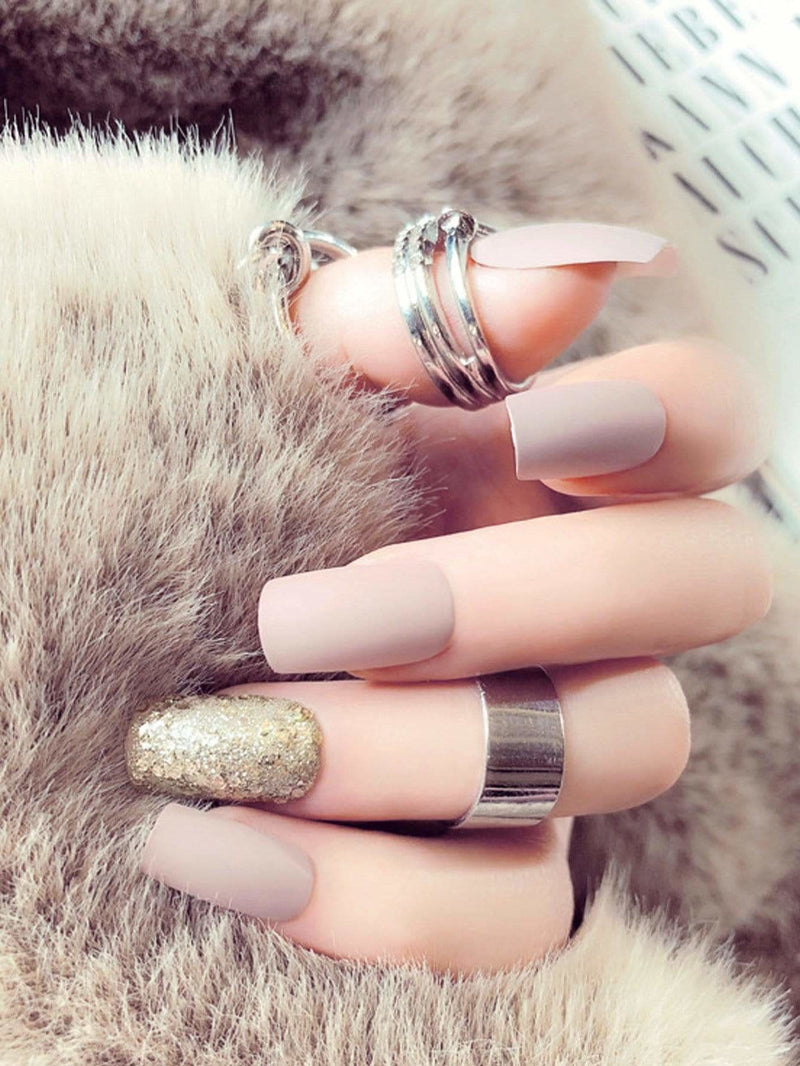 Plain & Glitter Fake Nails Set 25pcs
