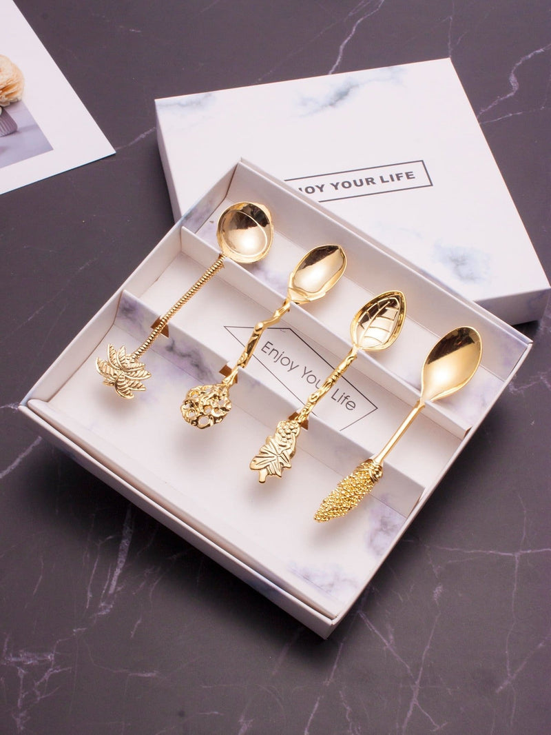 Plant Design Metallic Spoon 4Pcs - One-Size / One Color - Dining