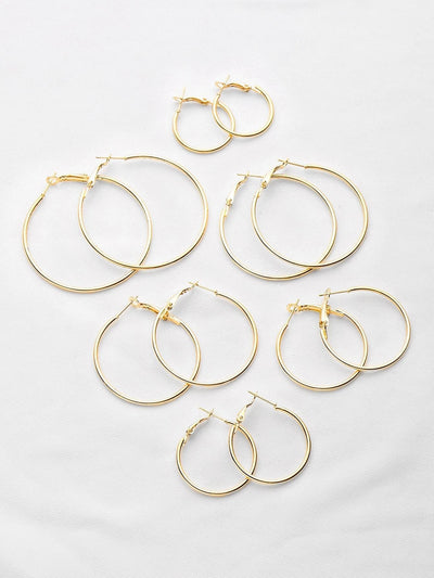 Plated Hoop Earrings Set - Earrings