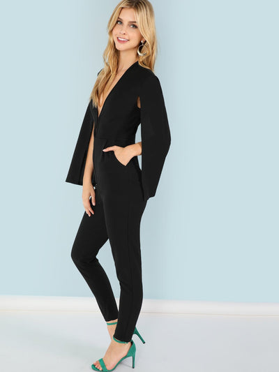 Plunging Neck Cloak Sleeve Jumpsuit - Womens Jumpsuits