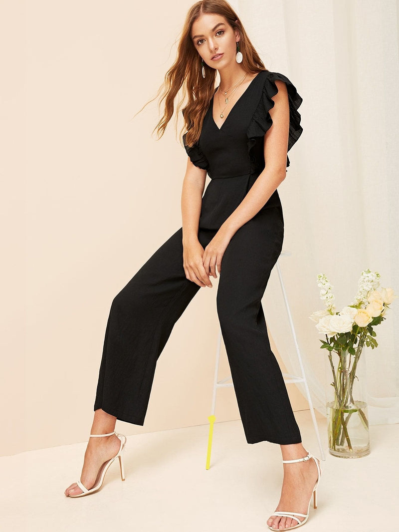 Plunging Neck Flounce Trim Wide Leg Jumpsuit - Womens Jumpsuits