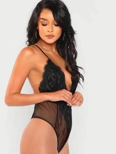 Plunging Neck Sheer Lace Cami Bodysuit - Bodysuits