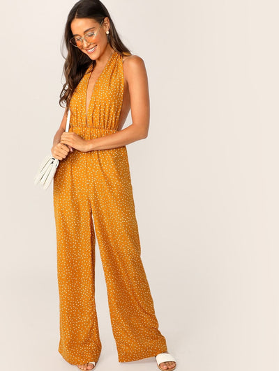 Plunging Neck Tie Backless Palazzo Halter Jumpsuit - Womens Jumpsuits