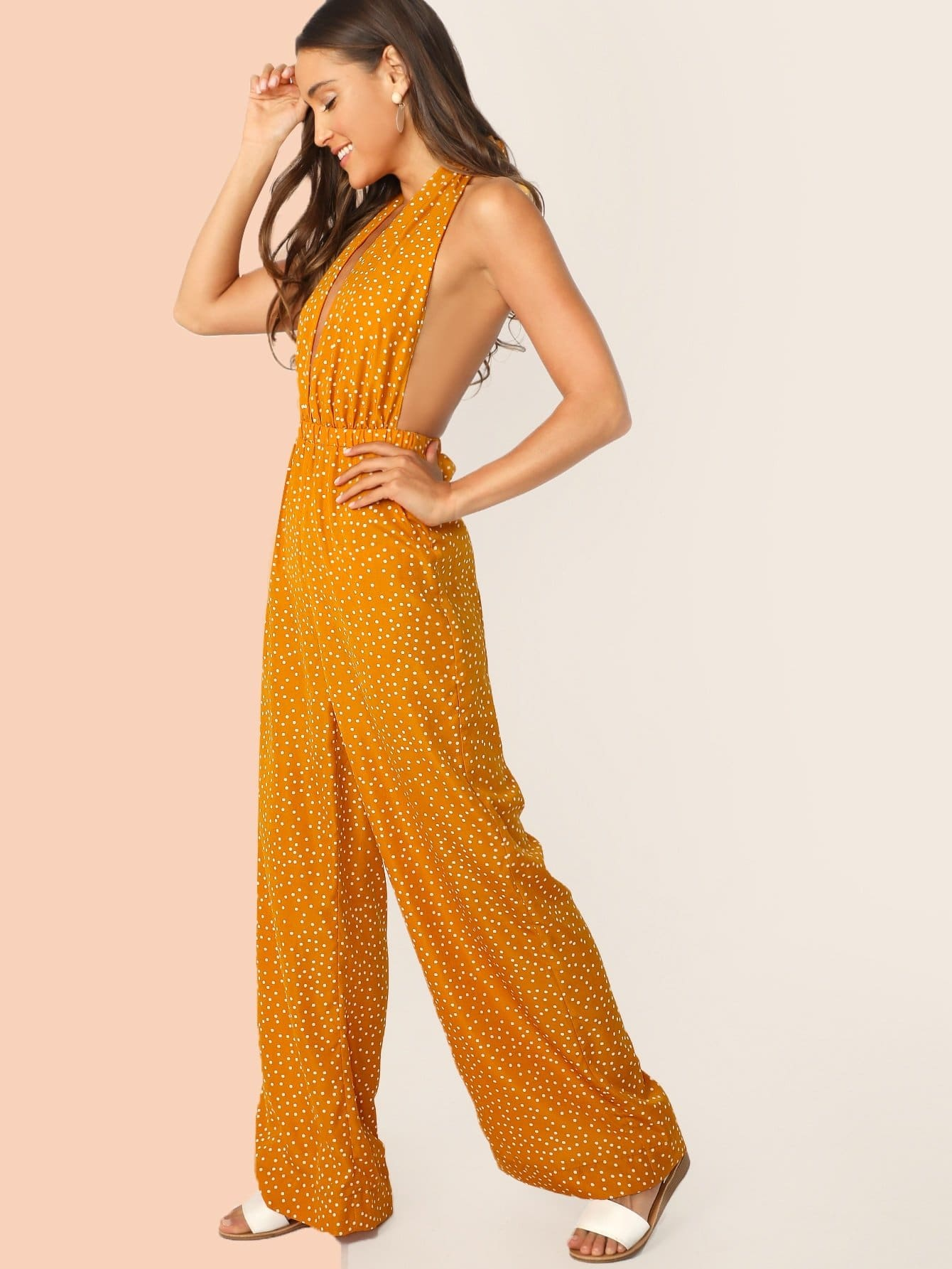 Plunging Neck Tie Backless Palazzo Halter Jumpsuit - XS - Womens Jumpsuits